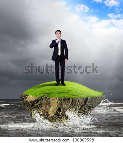 Collage with young businessman against weather background - stock photo