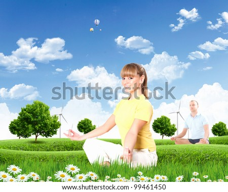 Collage with young woman doing yoga against blue sky - stock photo