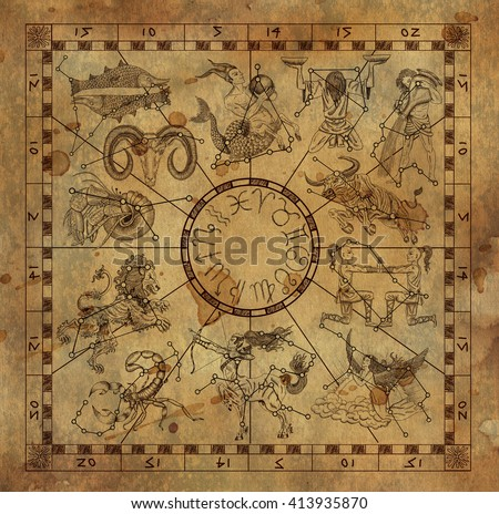 Collage with zodiac symbols and sky constellations in frame on old paper background. Line art with hand drawn horoscope signs in grunge style. Vintage mystic and astrology illustration with texture - stock photo