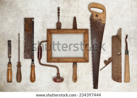 collage work wood tools carpenter and picture frame  - stock photo