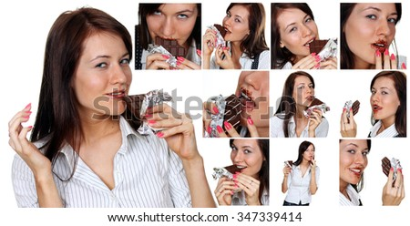 Collage, Young brunette women eating a chocolate candy, isolated on white - stock photo
