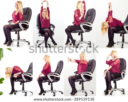 Collage young business woman doing exercises in her office chair for neck, shoulders and back/office yoga concept - stock photo