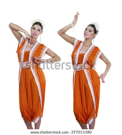 Collage, young traditional Asian Indian women in indian sari, isolated on white background - stock photo
