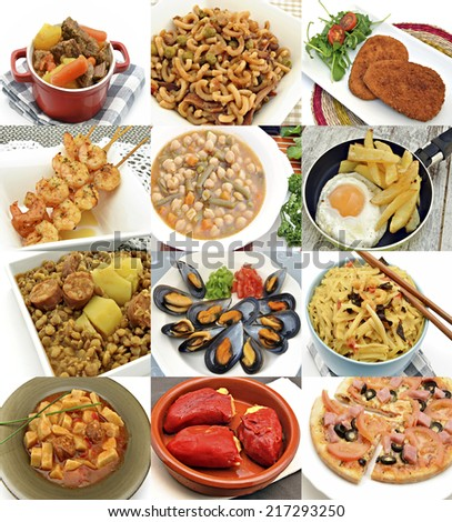 Collages cooked food