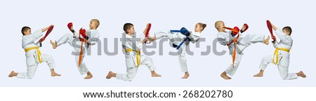 Collages karate kicks on a gray background  - stock photo
