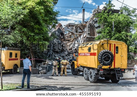 Collapse of the historical building of the Russian Technical Society. Odessa, Ukraine. 20 July 2016