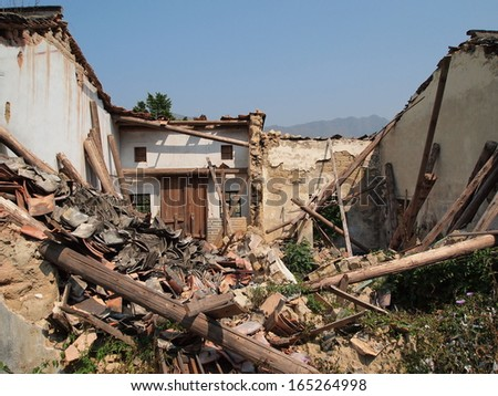 collapsed house in an abandoned village, Hong Kong - stock photo