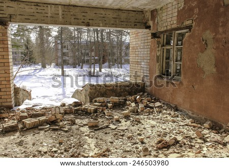 Collapsed room - stock photo