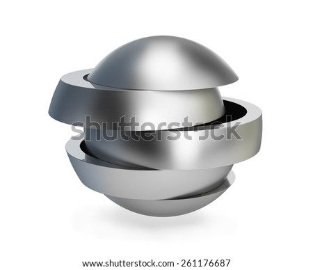 Collapsible metal ball. 3d image. White background.