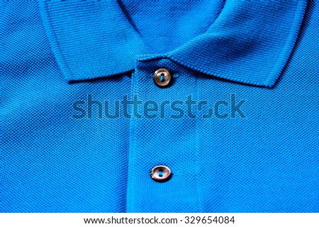 Collar and buttons of a luxurious fine material 100% cotton polo shirt. - stock photo