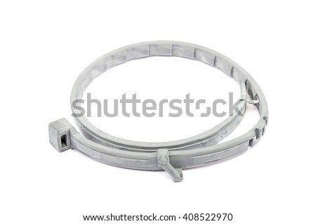 Collar for dogs and cats from fleas, lice and ticks isolated on white background. Therapeutic and prophylactic collar for pets. - stock photo