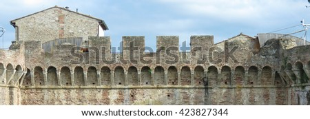 Colle Valdelsa, Italian medieval town - City walls - stock photo