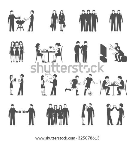 Colleagues friends and classmates groups sharing  free time activities concept black icons set abstract isolated  illustration