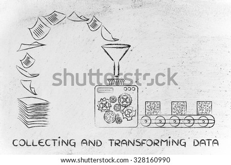 collecting and transforming data: factory machines turning unorganized paper into processed information - stock photo
