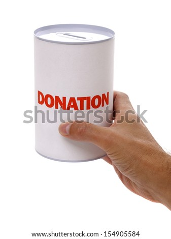 Collecting for charity holding a donation box - stock photo