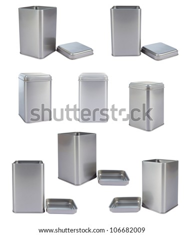 Collection aluminum Box top isolated against a white background