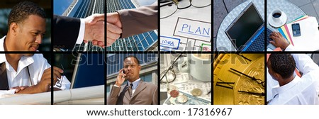 Collection and Collage of modern day business - stock photo