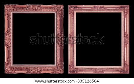 collection 2 antique brown frame isolated on black background, clipping path. - stock photo