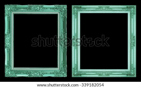 collection 2 antique green frame isolated on black background, clipping path. - stock photo