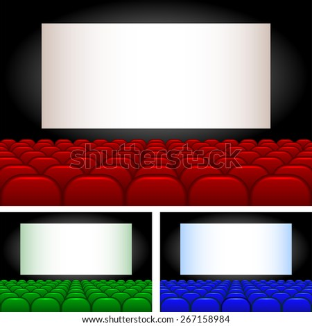 Collection auditoriums of different colors. - stock photo