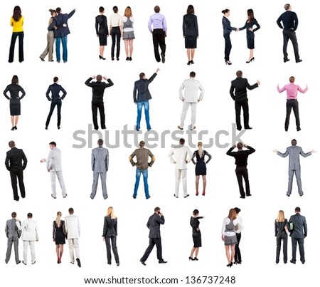 "collection ""Back view of  business people"". Rear view people collection. backside view of person. Isolated over white background. couples, teams, and people engaged in office work alone - stock photo"