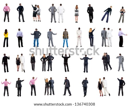 "collection ""Back view of  business people"". Rear view people collection. backside view of person. Isolated over white background. people in formal clothes do all sorts of things"