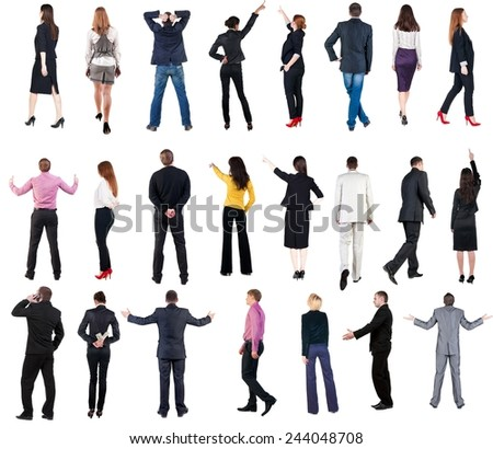 "collection ""Back view of  business people"". Rear view people set. backside view of person. Isolated over white background."