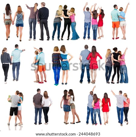 "collection "" Back view of group people"". set "" Rear view person team""  Isolated over white."