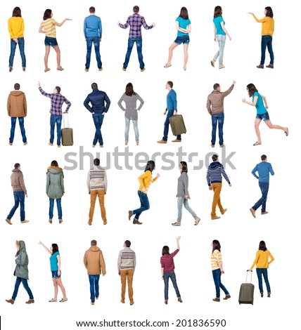 "collection "" back view of people "". backside view of person.  Rear view people collection. Isolated over white background."