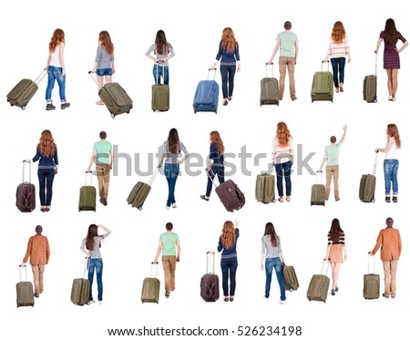 "collection "" Back view of  people with suitcase "". backside view of person.  Rear view people collection. Isolated over white background."