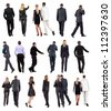 "Collection "" Back view of walking  business people "". going woman and man in suit. Rear view people set.  backside view of person.  Isolated over white background. - stock photo"