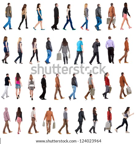"collection "" back view of walking people "". going men and woman  in motion set.  backside view of person.  Rear view people collection. Isolated over white background."