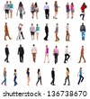 "collection "" back view of walking people "". going people in motion set.  backside view of person.  Rear view people collection. Isolated over white background. people in pairs and alone move - stock photo"