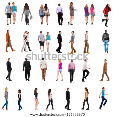 "collection "" back view of walking people "". going people in motion set.  backside view of person.  Rear view people collection. Isolated over white background. people in pairs and alone move"