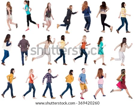 "collection "" back view of walking people "". running people in motion set.  backside view of person.  Rear view people collection. Isolated over white background. - stock photo"