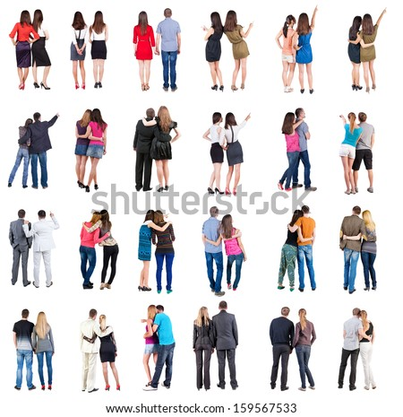 "Collection ""Back view of walking  young couple"".  Rear view people collection.  backside view of person.  Isolated over white background. young couples in official and street clothes moved"