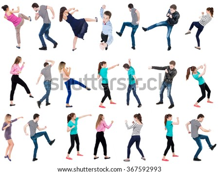 "Collection "" Back view people fight"".  Rear view people set.  backside view of person.  Isolated over white background."