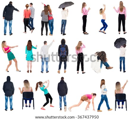 "Collection "" Back view people "".  Rear view people set.  backside view of person.  Isolated over white background. - stock photo"