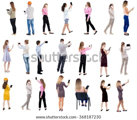 """Collection """" Back view people use smartphones and tablets. """".  Rear view people set.  backside view of person.  Isolated over white background - stock photo"""