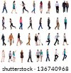 collection back view walking people. going people in motion set. backside view person. Rear view people collection. Isolated over white. people different genders and in different clothes move - stock photo