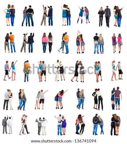 "Collection ""Back view  young couple"".  Rear view people collection.  backside view of person.  Isolated over white background. Set "" young people together "" - stock photo"
