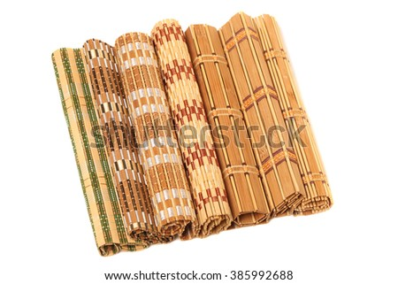 Collection bamboo mats isolated on white background - stock photo
