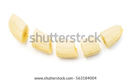 Collection bananas and slices isolated on a white background. Flat lay, top view