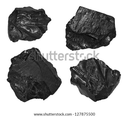 collection black coal isolated on white background - stock photo
