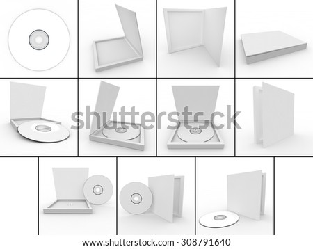 Collection. Blank white form - drive in the box. Isolated background - stock photo
