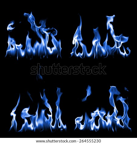 collection blue fire in black - stock photo