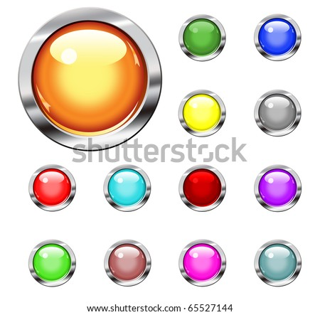Collection buttons in various colors - stock photo