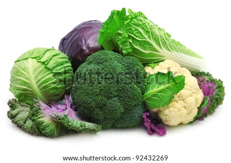 collection cabbages isolated on a white background - stock photo