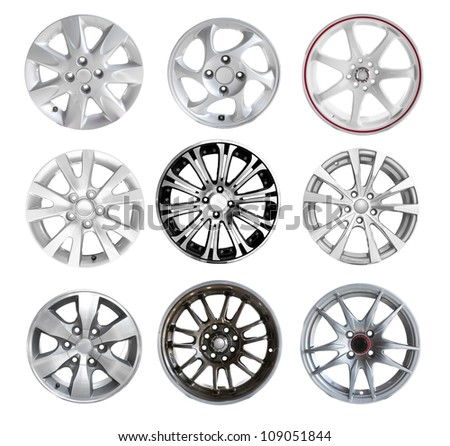 Collection Car Wheel disks, isolated on white background. - stock photo
