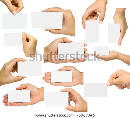 Collection card in a hand on white background - stock photo